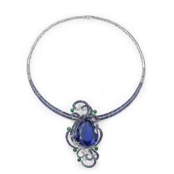 FEI LIU-Collier 103 Ct Tanzanite Neckpiece-Collection Bespoke-tanzanite,-or blanc-saphirs-diamants-jadeite