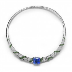 FEI LIU-Collier-24Ct Tanzanite-Collection Bespoke-diamants-grenats verts-or blanc