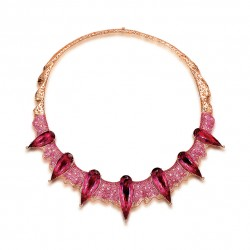 FEI LIU-Collier Gothic-Rubellite-Collection Bespoke-rubellite-or rose-saphirs roses-diamants