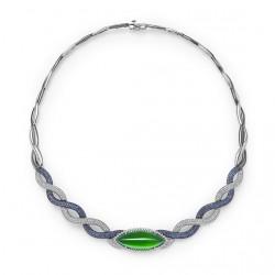 FEI LIU-Collier-Neckpiece Collection-or blanc-diamants-saphirs-Jadeite