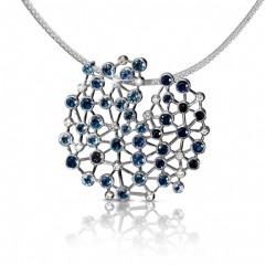 FEI LIU-Pendentif Asclepias-saphirs-platine-diamants
