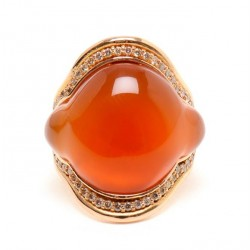 FERNANDO JORGE-Bague-Calcédoine orange-or rose