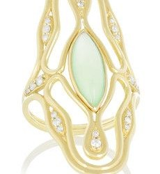 FERNANDO JORGE-Bague Fluide-chrysoprase-diamants