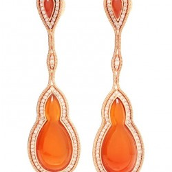 FERNANDO JORGE-Boucles d'oreilles-Fluid Drop-Tourmaline orange-diamants brun