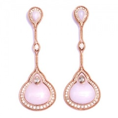 FERNANDO JORGE-Boucles d'oreilles-or rose-opale rose-diamants