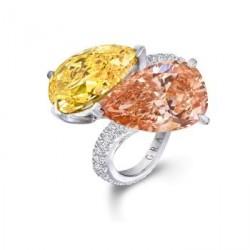 GRAAF-Bague Crossover-2 diamants jaune orange Vif et  orange brun de 10.62 Ct