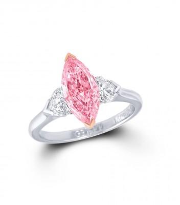 GRAAF-Bague-diamant rose navette--diamants blancs