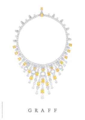 GRAAF-Collier-style Art Deco-diamants jaune-diamants blancs