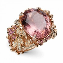 GRREN G-bague Shangri La-Kunzite-diamants-saphirs