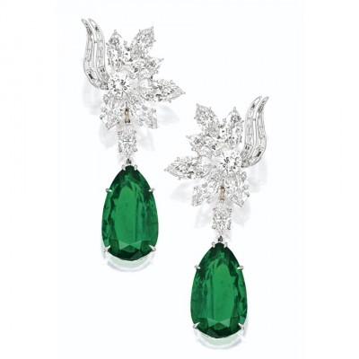 HARRY WINSTONémeraudes-diamants-boucles d'oreilles