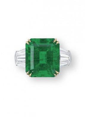 HARRY WINSTON-Bague-Emeraude 11.28 carats-diamants