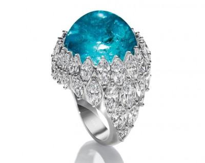 HARRY WINSTON-Bague-cabochon Tourmaline Paraiba-diamants