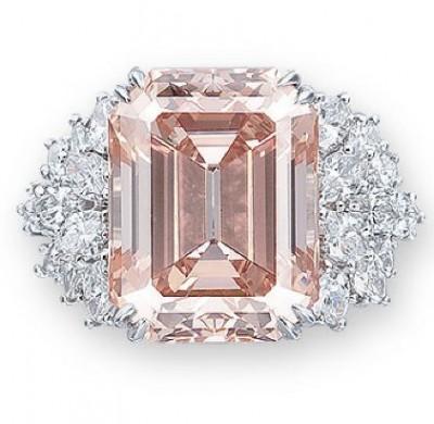 HARRY WINSTON-Bague-diamants-diamants rose orange 12.93ct