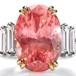 HARRY WINSTON-Bague- saphir Padparadscha-diamants