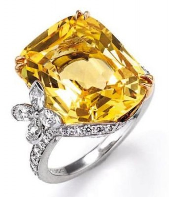 HARRY WINSTON-Bague-saphir jaune-diamants