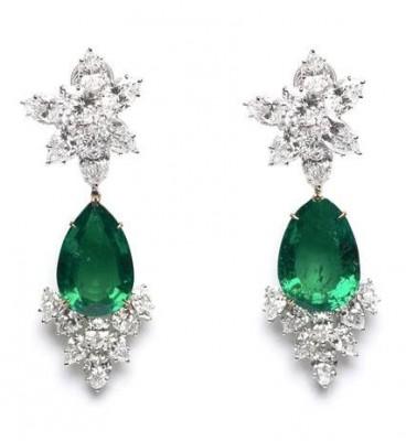 HARRY WINSTON-Boucles d'oreilles-chandelier vintage-diamants-émeraude