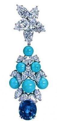HARRY WINSTON-Boucles d'oreilles-pendentif-Turquoise-saphir-diamants