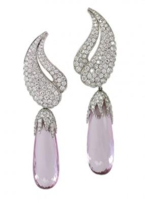 HARRY WINSTON-Boucles d'oreilles-saphirs roses-diamants