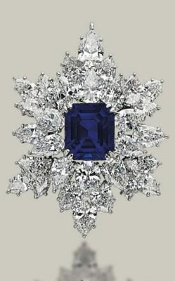 HARRY WINSTON-Broche-pendentif-Saphirs-diamants