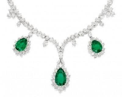 HARRY WINSTON-Collier-diamants-émeraude colombienne
