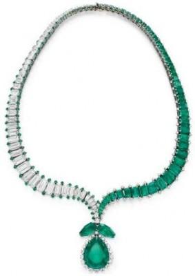 HARRY WINSTON-Collier-diamants-émeraude-vendu en 1956 chez Christie's