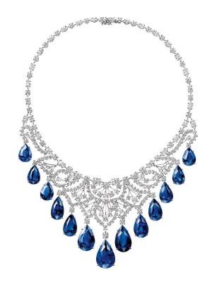 HARRY WINSTON-Collier-diamants- saphirs-Biennale  Antiquaires 2014