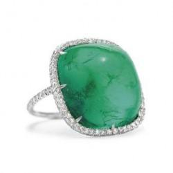 JAR-bague-or-émeraude cabochon-diamants