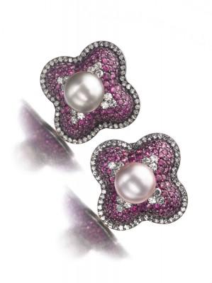 JAR-boucles d'oreilles-diamants-rubis