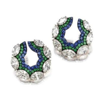 JAR-boucles d'oreilles-saphirs-émeraudes-diamants