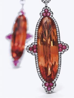 JAR-boucles d'oreilles-topaze impériale-rubis-diamants