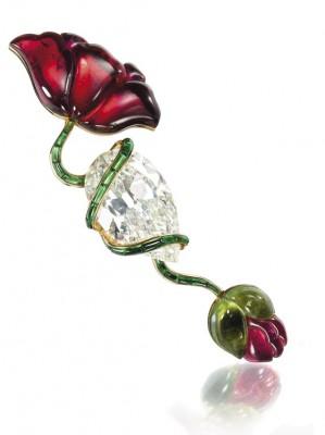JAR-broche coquelicot diamants tourmalines vendue $1,272,320