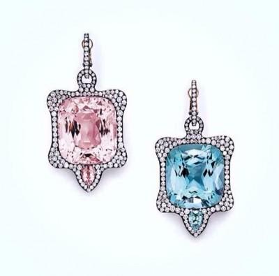 JAR-earing pendants-morganite-aquamrine-diamonds-aigue marine-diamants