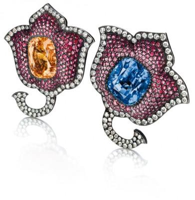 JAR-paire de boucles d'oreilles-saphirs-rubis-diamants