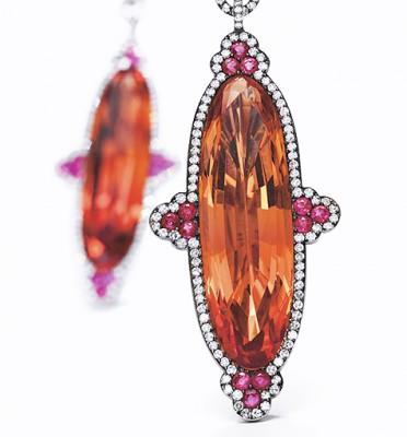 JAR-topazes impériales-diamants-boucles d'oreilles