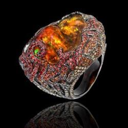 LYDIA DE COURTEILLE-Collection Jardin de Xochimilco-Or rhodié noir-diamants bruns-saphirs-opale de feu