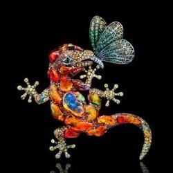 LYDIA DE COURTEILLE-Collection Jardin de Xochimilco-broche-Or rhodié noir-diamants-tsavorites-peridots-saphirs-diopsides-opales de feu