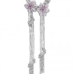MELLERIO DITS MELLER-Collier-Éclats de Lys-or gris-diamants-saphirs roses