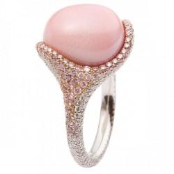 MIKIMOTO-bague-perle conch-platine-or rose-diamants blancs-diamants roses