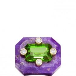 NICOLAS VARNET-Bague Duo-Sugilite gravée-Peridot-Diamants