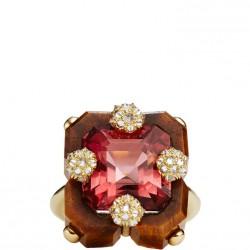 NICOLAS VARNET-Bague Duo-oeil deTigre gravé-tourmaline rose-diamants