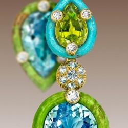 NICOLAS VARNET-Boucles d'oreilles-Aigue marine-gaspeite-péridots-turquoise-diamants jaunes-diamants