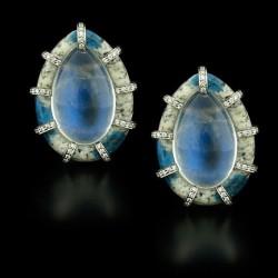 NICOLAS VARNET-Boucles d'oreilles-Pierre de Lune-diamants