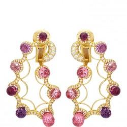 NICOLAS VARNET-Boucles d'oreilles clip-saphirs roses-diamants