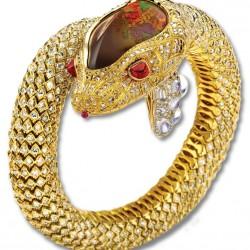NICOLAS VARNET-Bracelet serpent-diamants blanc-diamants cognac-opale de feu-rubis