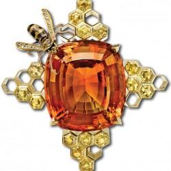 NICOLAS VARNET-Broche Honeycomb-Citrine-saphirs jaunes-diamants