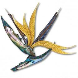 NICOLAS VARNET-Broche-Oiseau du Paradis-abalone-saphirs jaunes-saphirs bleus-grenat Tsavorite-diamants