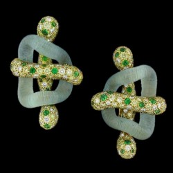 NICOLAS VARNET-Collection Cayen-Boucles d'oreilles Liens-Aigue marine-Tsavorite-saphirs jaunes