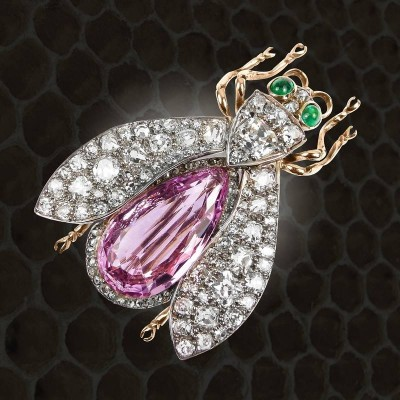 #PinkTopaz #Diamond #Emerald #InsectBrooch #Circa1890