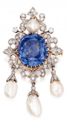 #Platinum #Gold #Sapphire #Diamond #Pearl #Pendant-Brooch #Circa 1900.