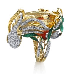 RICARDO BASTA-diamants blanc-diamants jaunes-jade-corail-saphir jaune